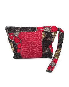 Timbali Crafts Handmade African Cosmetic Bag - Red Blooms