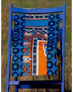 Timbali Crafts Handmade African Table Runner - Blue & Orange Navajo