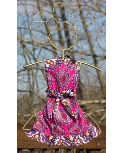 Timbali Crafts Handmade African Girl's Apron - Fuchsia Flower - Wide View