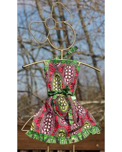 Timbali Crafts Handmade African Girl's Apron - Sweet Pea - Wide View