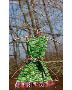Timbali Crafts Handmade African Girl's Apron - Green Leaf - Wide View
