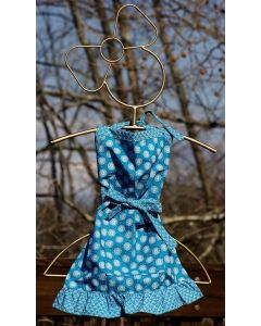 Timbali Crafts Handmade African Girl's Apron - Blue with White Circles - Wide View